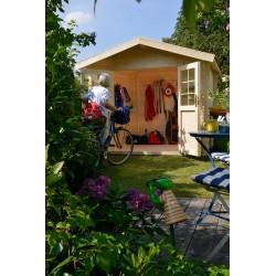 Abri de jardin bois 5,49 m2 d'épaisseur 28 mm, de 2,40 x 2,40 m