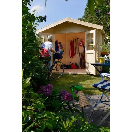 Abri de jardin bois 5,49 m2 en situation de face