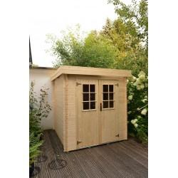 Abri de jardin bois 3,45 m2 toit plat, d'épaisseur 19 mm de 1,8 x 2 m