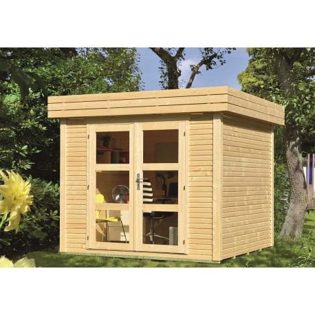 Abri de jardin bois 5,48 m2 toit plat d'épaisseur 28 mm, de 2,37 x 2,43 m