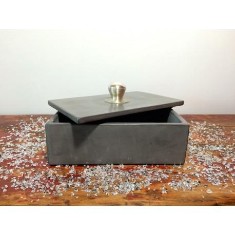 Boîte de rangement tadelakt grise ouverte