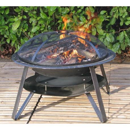 Braséro de jardin en acier noir Somagic 70 x 70 x 40 cm