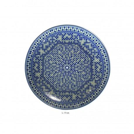 Assiette plate ronde en porcelaine Ø : 17 cm bleue