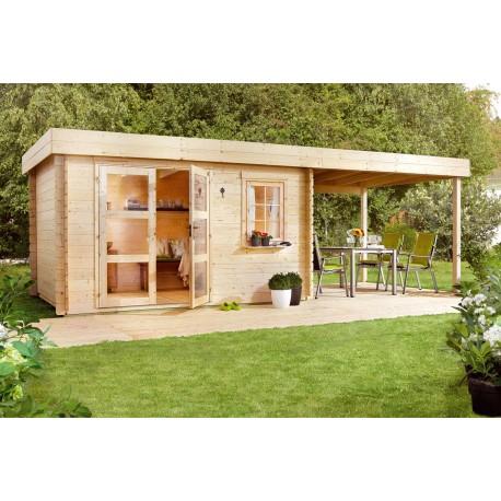 Abri de jardin bois 8,15 m2 d'épaisseur 28 mm et pergola ouverte 6 m2