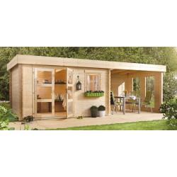Abri de jardin 8,15 m2 d'épaisseur 28 mm et pergola fermée 5,92 m2