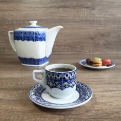 Tasse pour petit déjeuner en porcelaine 7,5 cl, blanche et kaki