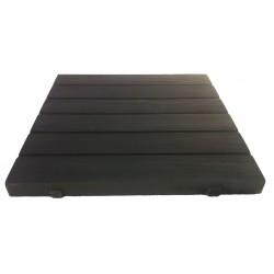 Dalle de terrasse en pierre reconstituée aspect bois 45 x 45 x 3,5 cm noir