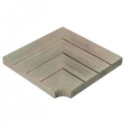 Margelle en pierre reconstituée aspect bois angle rentrant 33,5 x 33,5 x 3,5 cm