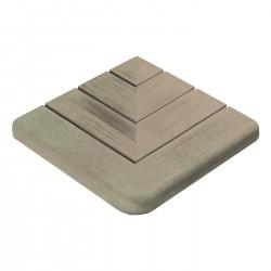 Margelle en pierre reconstituée angle sortant aspect bois 29,5 x 29,5 x 3,5 cm