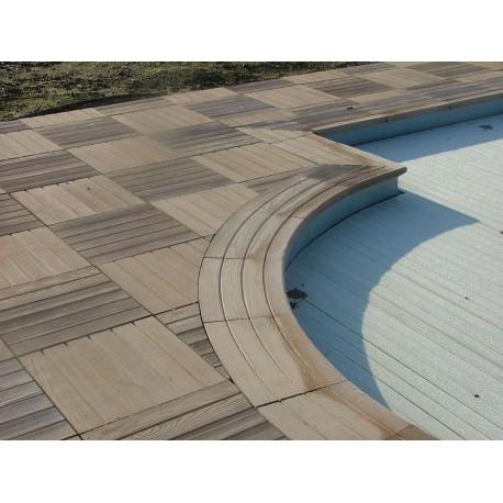 Kit margelle en pierre reconstituée avec escalier roman 4 x 8 ml bois foncé