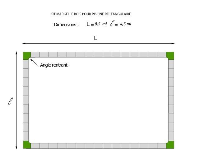 Kit Margelle De Piscine En Pierre Reconstituée 4,5 X 8,5 Ml Bois Foncé