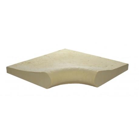 Margelle de piscine en pierre reconstituée galbée angle rentrant 4 cm camel de face