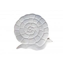 Pas japonais de jardin en pierre reconstituée animaux escargot blanc 30 x 28 x 3 cm
