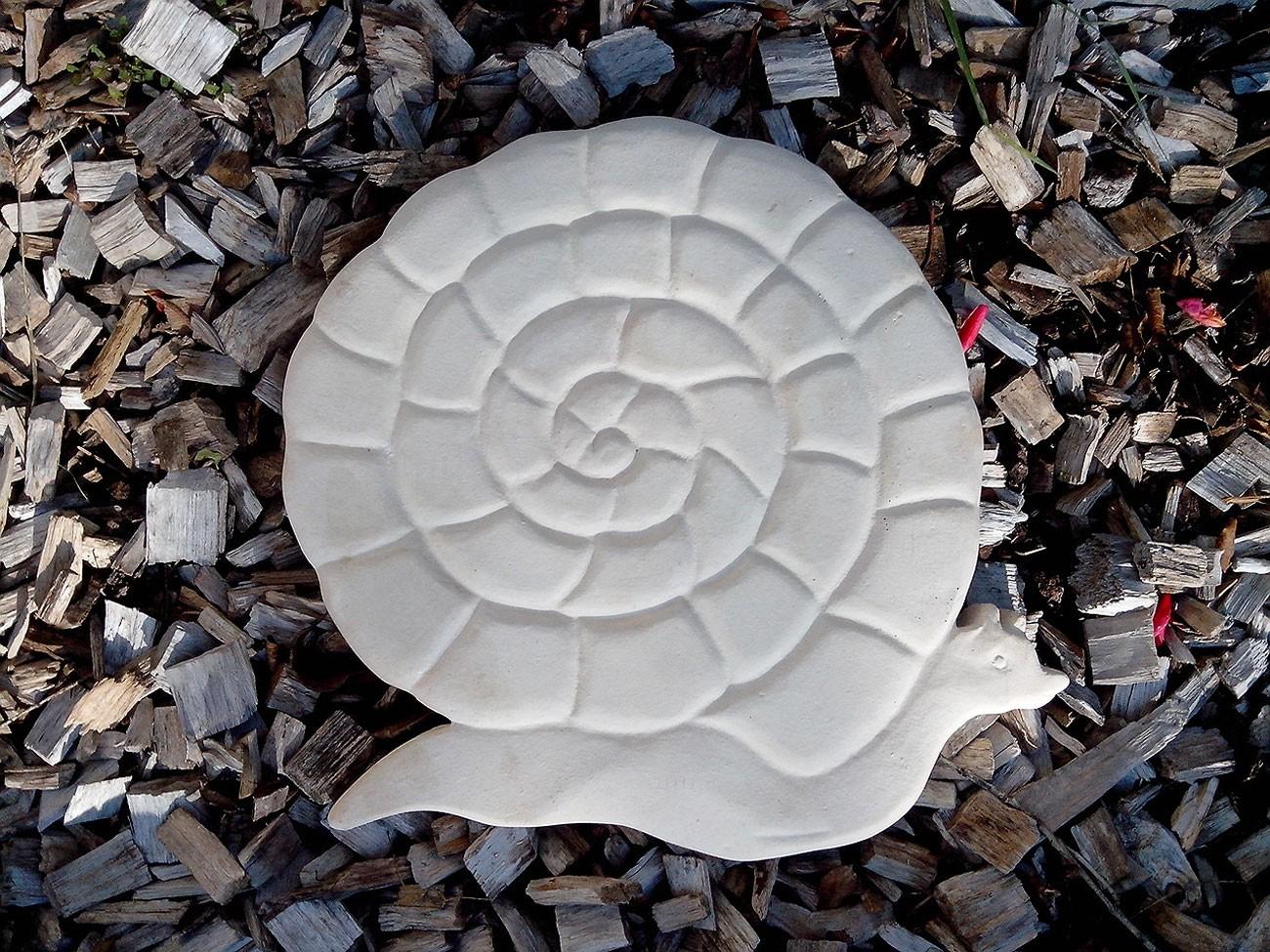 Pas japonais de jardin en pierre reconstituée animaux escargot blanc ...