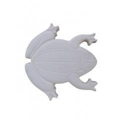 Pas japonais de jardin en pierre reconstituée animaux grenouille blanc 30 x 28 x 3 cm