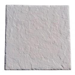 Dalle en pierre reconstituée 45,5 x 45,5 x 3 cm ardoisée blanc