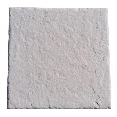 Dalle en pierre reconstituée 45 x 45 x 2,5 cm ardoisée blanc de face