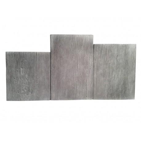 Bordure de jardin en pierre reconstituée planche apparence bois blanchi 60 x 3 x 30 cm
