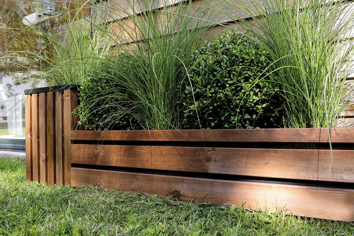 Bordure bois planter 23 43 x 100 cm for Bordures de jardin en bois