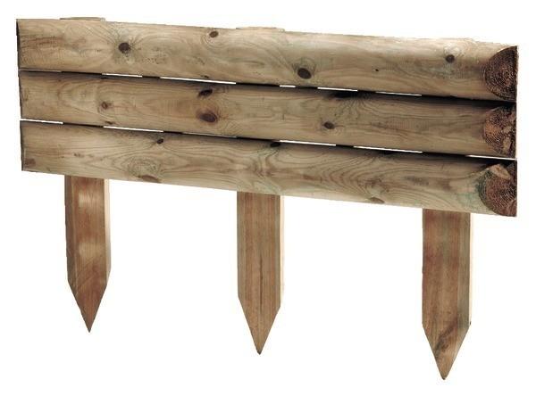 Bordure de jardin en bois à planter 100 x 10 x 60 cm