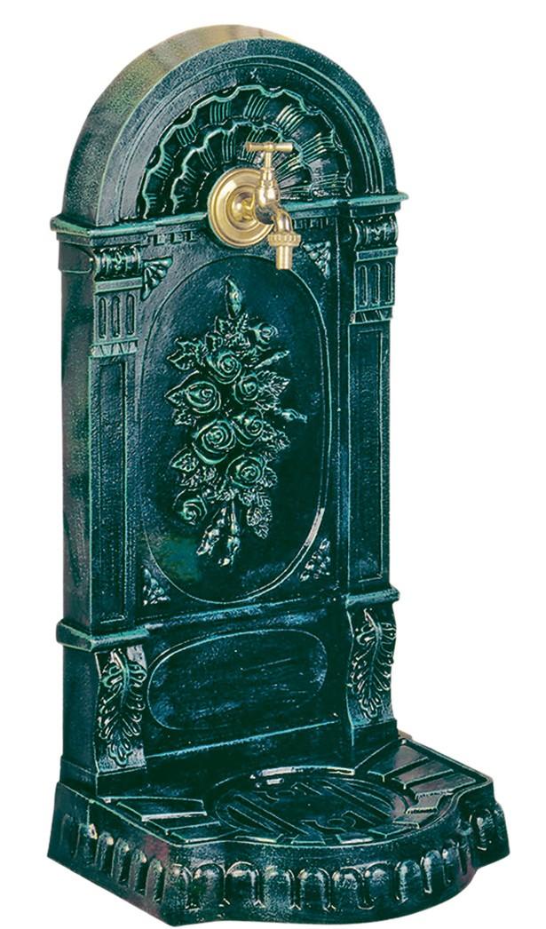 fontaine de jardin en fonte aux roses 36 x 31 x 75 cm vert. Black Bedroom Furniture Sets. Home Design Ideas