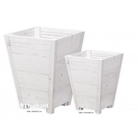 Jardinière en bois conique blanchi Vaso 59 x 59 x 75 cm