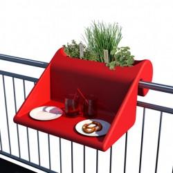 Jardinière en polyéthylène carrée Balkonzept 60 x 60 x 35 cm rouge