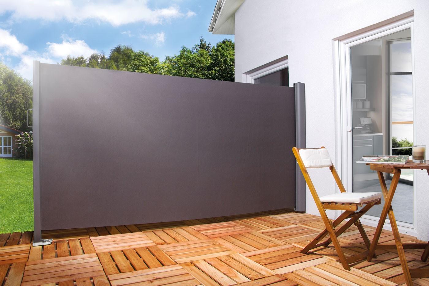 Store Latéral Rétractable Paravent Terrasse PVC Gris Anthracite ...