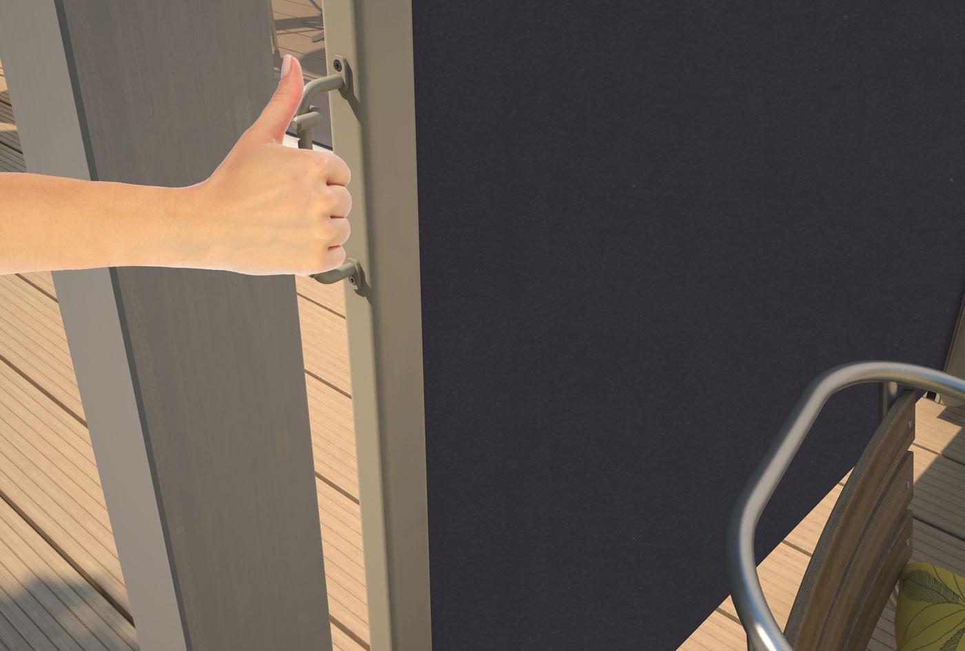 store r tractable lat ral en toile pour terrasse beige 2 x 3 ml. Black Bedroom Furniture Sets. Home Design Ideas