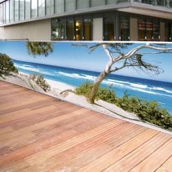 Brise vue de jardin en polyester décor Plage Corse 500 x 100 cm