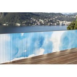 Brise vue de jardin en polyester décor Nuage Bleu 500 x 100 cm