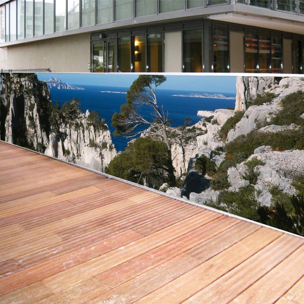 Brise vue de jardin en polyester décor Calanques 500 x 100 cm