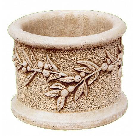 Jardinière en pierre reconstituée ronde 30 x 30 x 20 cm décor olivier