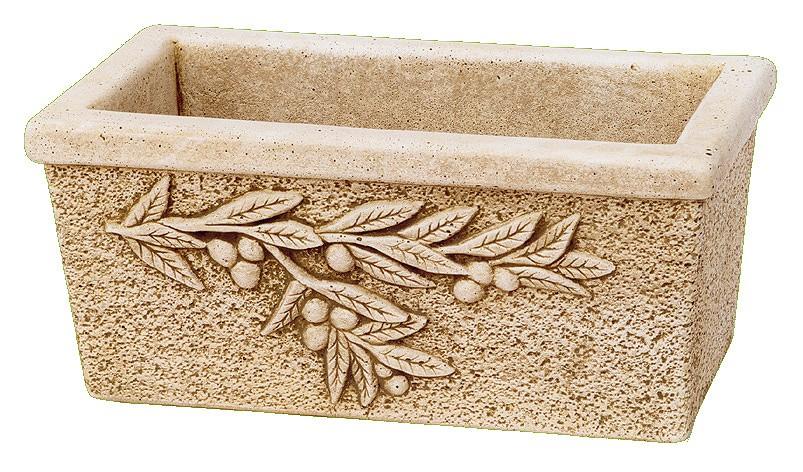 Jardini re pierre reconstitu e rectangle feuille olivier for Jardiniere en pierre seche