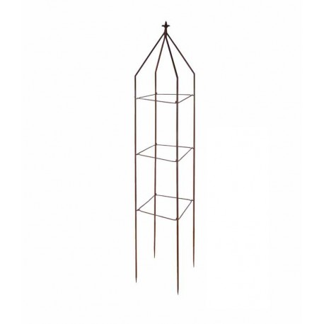 Treillage de jardin en acier rouillé lys carré 28,3 x 28,3 x 175 cm