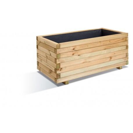 Jardinière en bois rectangulaire Stockholm 100 x 50 x 43 cm
