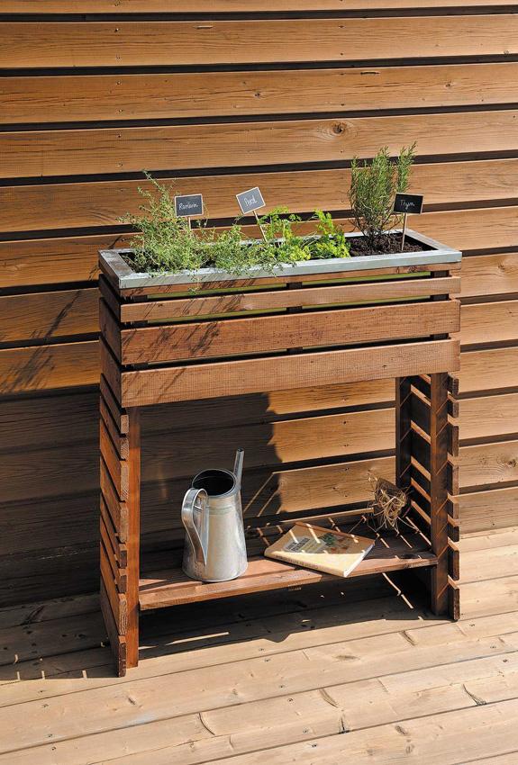 Jardini re en bois rectangulaire sur pieds ligne z 80 3 x 30 3 x 89 8 cm - Jardiniere en bois sur pied ...