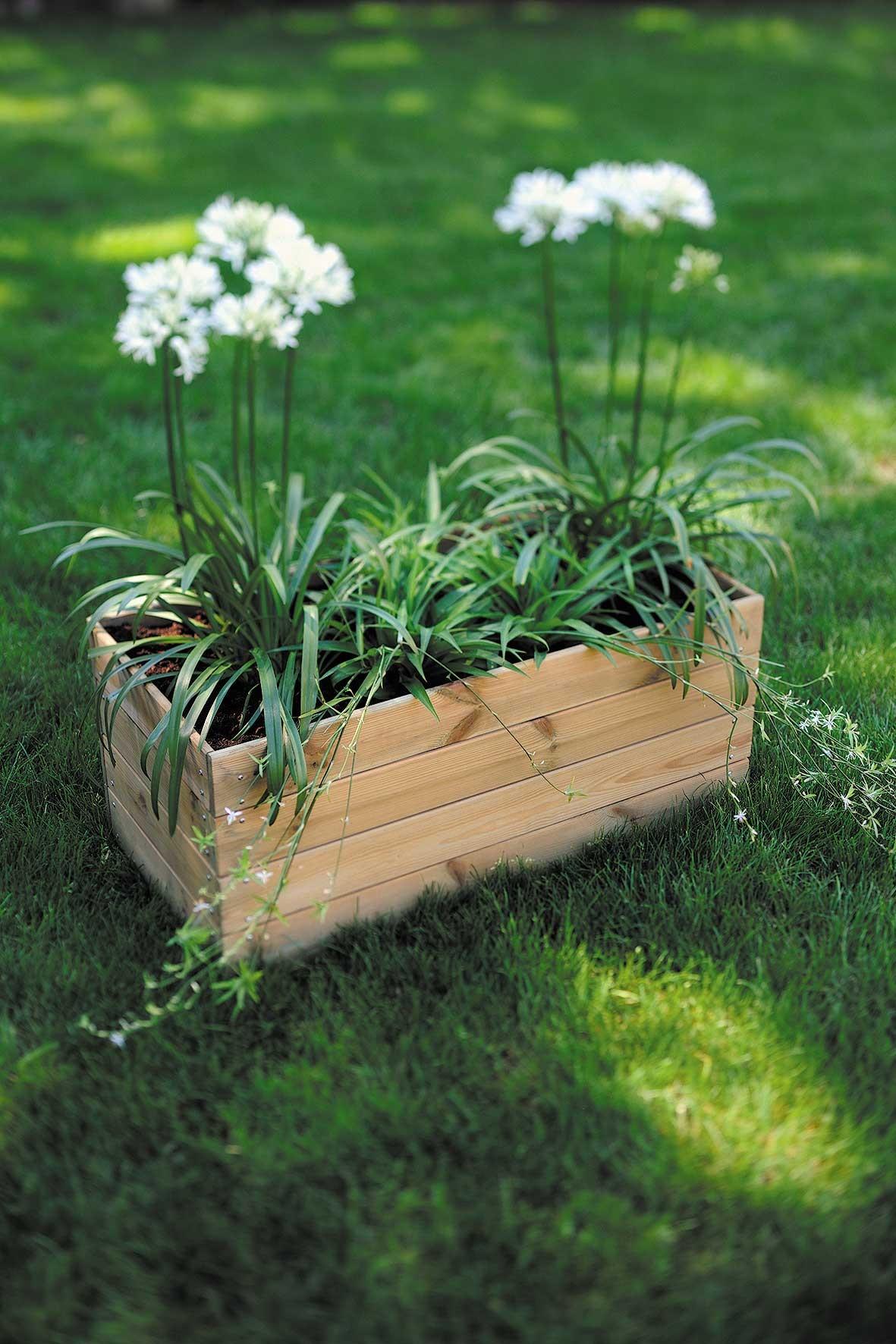 Jardini re en bois rectangulaire essencia 80 x 40 x 39 5 cm - Jardiniere bois ...