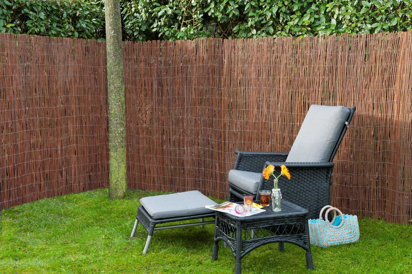 Canisse naturelle en osier 2 x 5 m ep 5 mm jardin - Table de jardin en osier ...