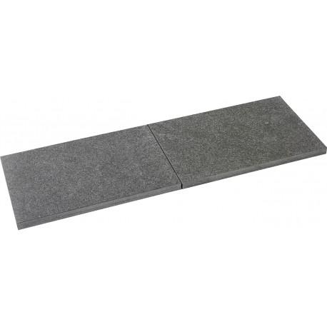 Pas japonais en pierre naturelle granit flammée 60 x 40 x 3 cm Nero de face