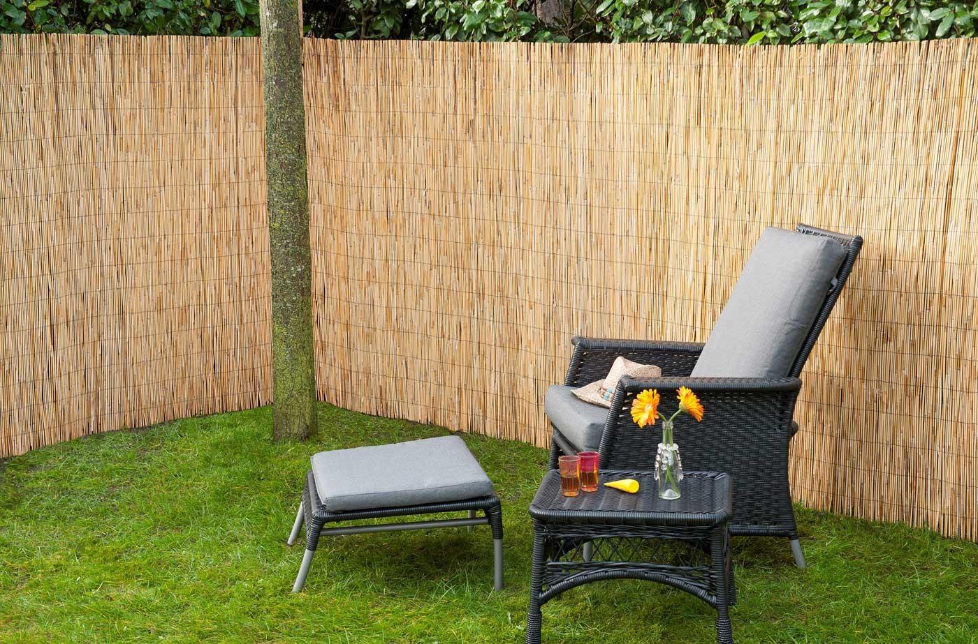 Brise vue canisse de jardin en roseau naturel 500 x 150 cm - Vue de jardin ...