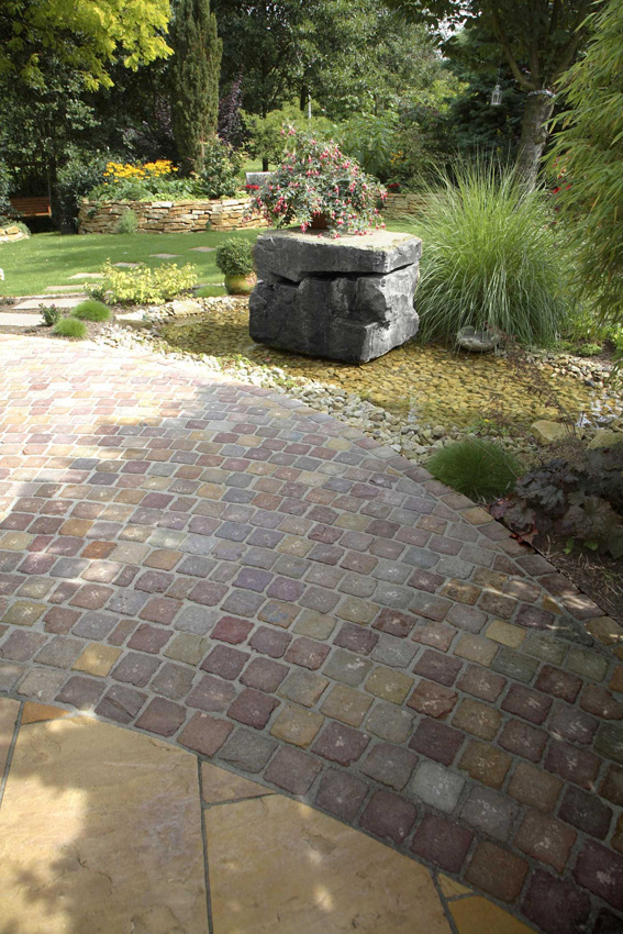 Pavé pierre naturelle grès brut kandla multicolor 14 x 14 x ...