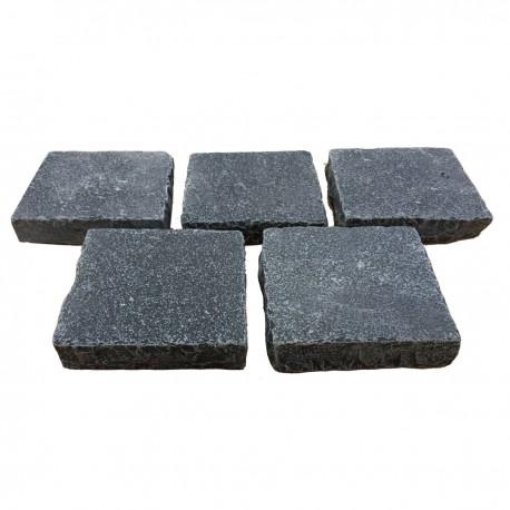 Pavé pierre naturelle calcaire noir 14 x 14 x 3/5 cm