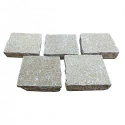 Pavé pierre naturelle calcaire jaune nuancé 14 x 14 x 3/5 cm