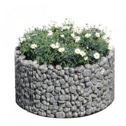 Jardinière en acier ronde gabion 81 x 81 x 40 cm avec galets