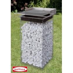 Barbecue de Jardin en Gabion 40 x 40 cm Avec Galets