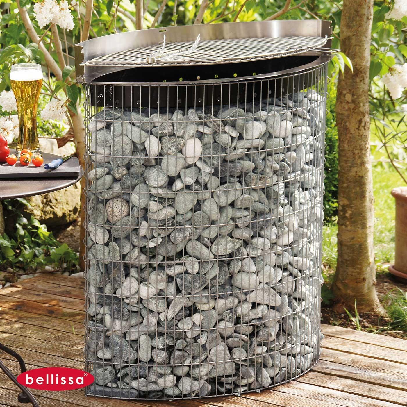 gabion ovale barbecue avec galets. Black Bedroom Furniture Sets. Home Design Ideas