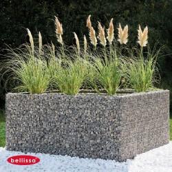 Jardinière en acier carrée gabion 200 x 200 x 100 cm avec galets