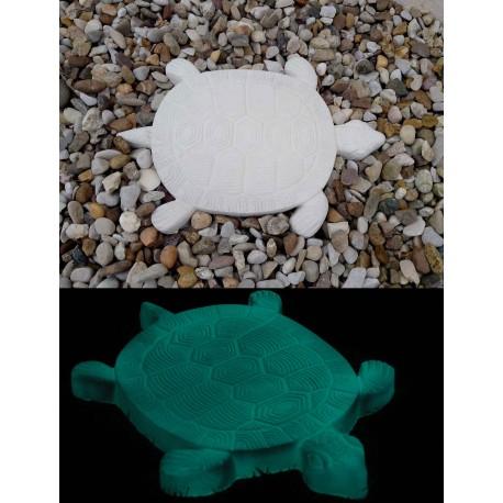 Pas japonais en pierre reconstituée luminescent tortue en situation