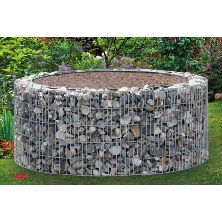 Jardinière en acier ronde gabion 126 x 126 x 50 cm sans galet